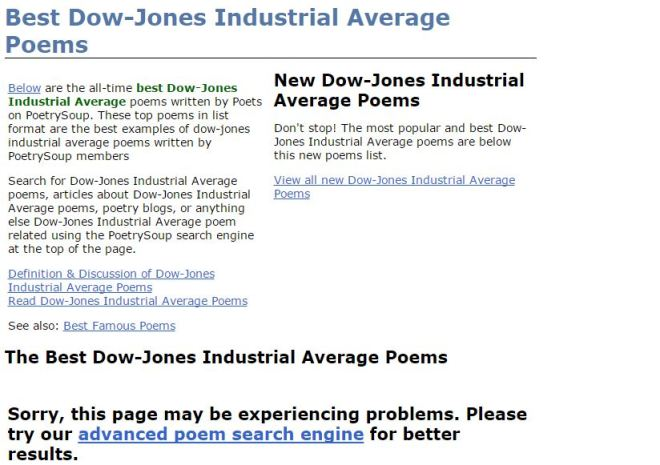 screen shot of what I found when I searched for poems about the Down Jones.